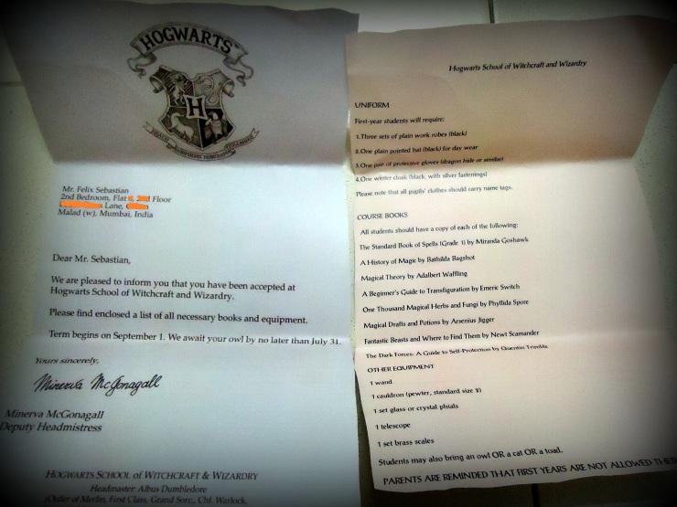Hogwarts Acceptance Letter